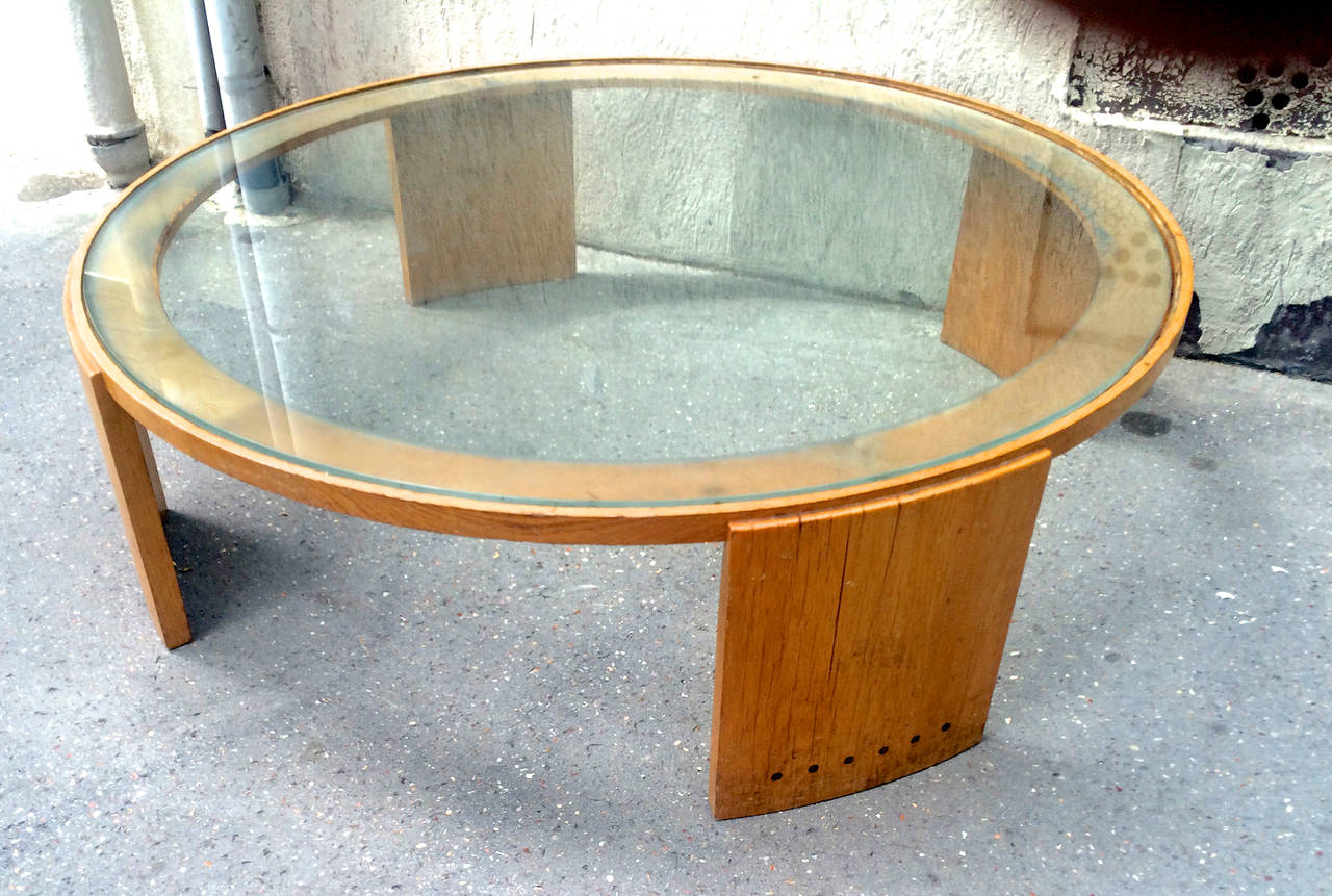 Jacques Adnet Very Large Round Coffee Table In Oak And Glass Top For Sale At 1stdibs