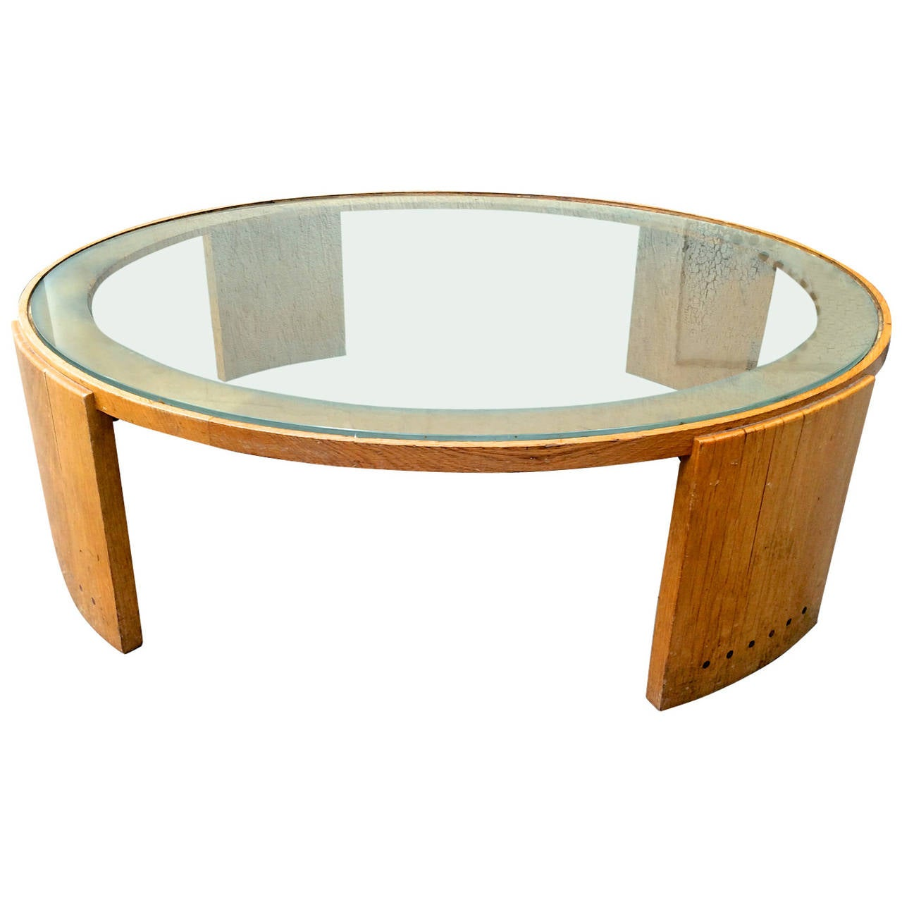 Jacques adnet very large round coffee table in oak and for Coffee tables glass top
