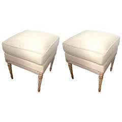 Maison Carlhian Pair of Stools Newly Covered in Linen Cloth