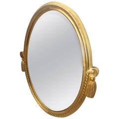 Maurice Dufrene Art Deco Gold Leaf Carved Oval Mirror