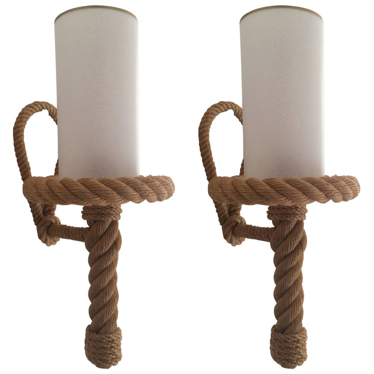 Wall Lights With Rope : Audoux-Minet Riviera Pair of Rope Sconces in Vintage Condition at 1stdibs