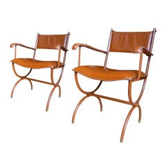 Jacques Adnet Pair of Arm-Chairs In Hand Stitched Brown Leather