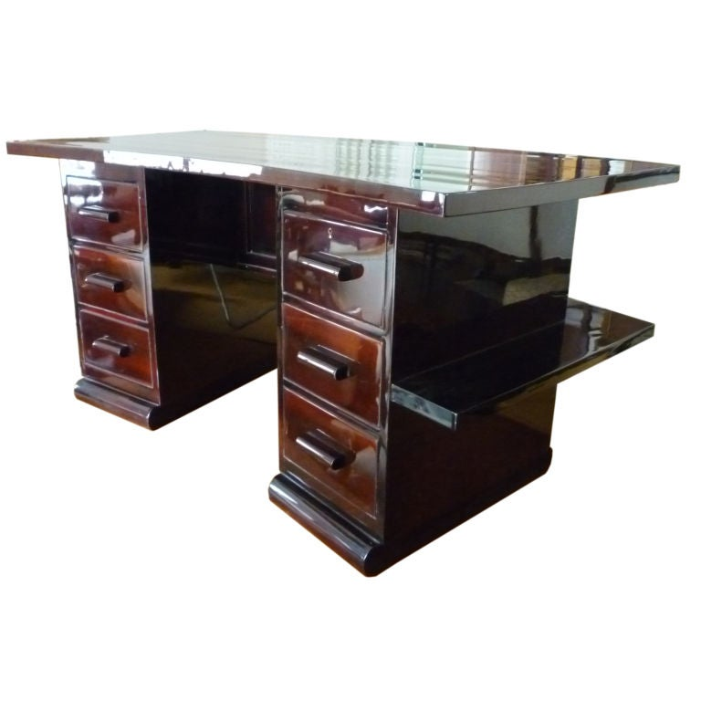 French Art Deco Six Drawer Double Face Curved Desk For