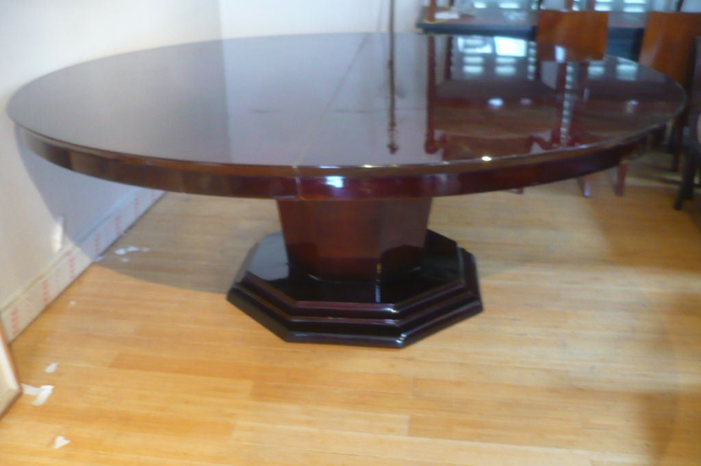 french art deco round dining table with one leaf for sale