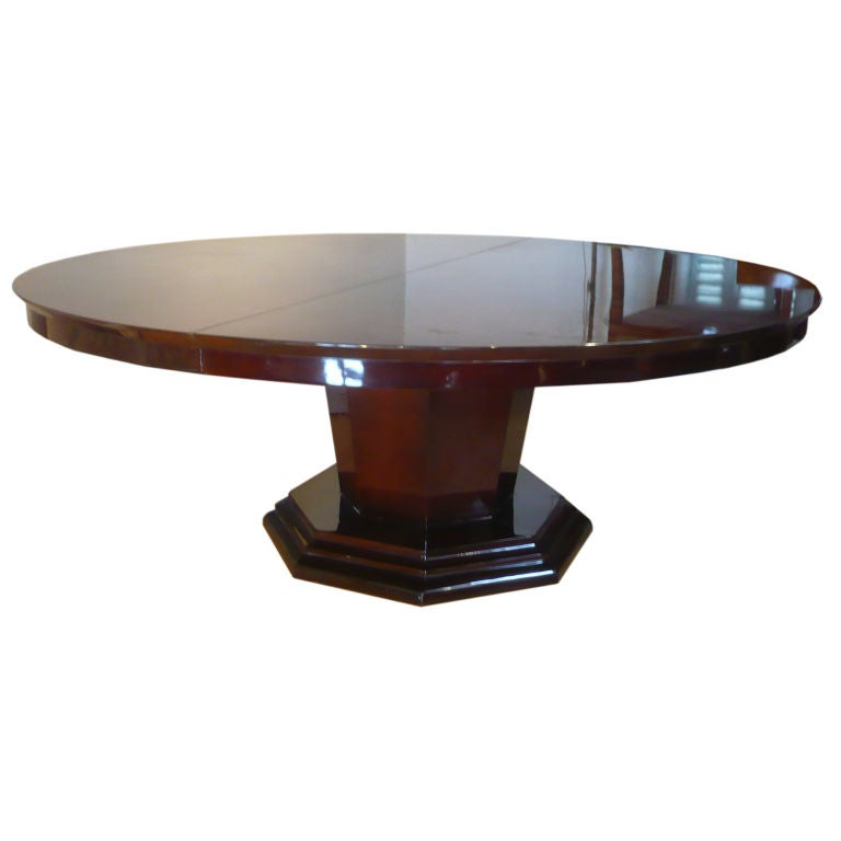 French Art Deco Round Dining Table with One Leaf at 1stdibs : XXX892912802846201 from 1stdibs.com size 768 x 768 jpeg 22kB
