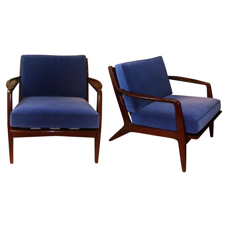1960s Beautiful Design Pair Of Chairs Newly Reupholstered