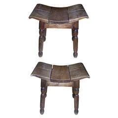 CHARLES DUDOUYT rare pair of stool in oak