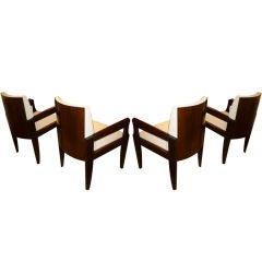 ANDRE SORNAY exceptionnal set of 4 arm-chairs with nailed back