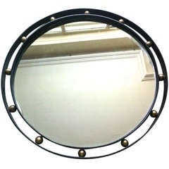 Jean Royère Wrought Iron and Brass Mirror in Vintage Condition