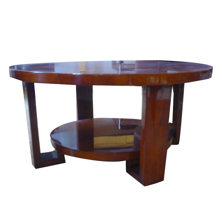 French Art Deco Modernist Round Coffee Table In Burl For Sale At 1stdibs