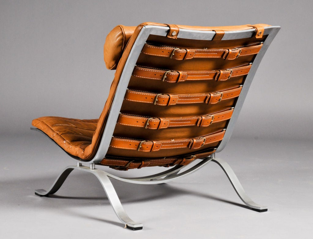 Arne Norell Pair Of Vintage Leather And Steel Lounge