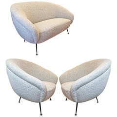Set of One Couch and Two Chairs in the Style of Gio Ponti