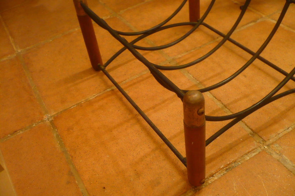 Beautiful 1950s Log Holder in Wood, Iron and Brass 1