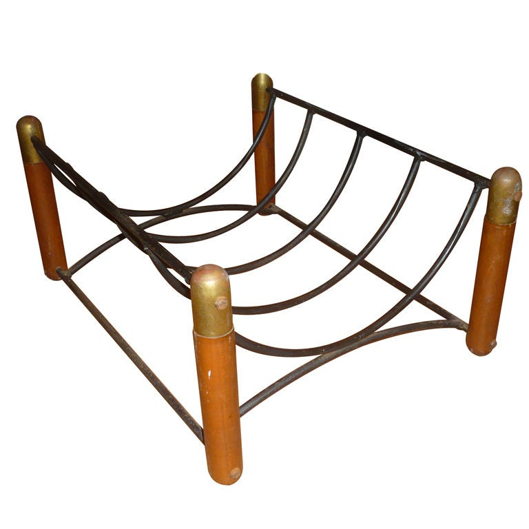 Beautiful 1950s Log Holder in Wood, Iron and Brass