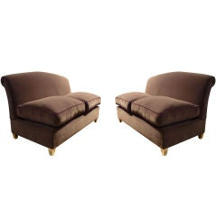 Maison Jansen Exceptional Pair of Settees with Gold-Leaf Legs