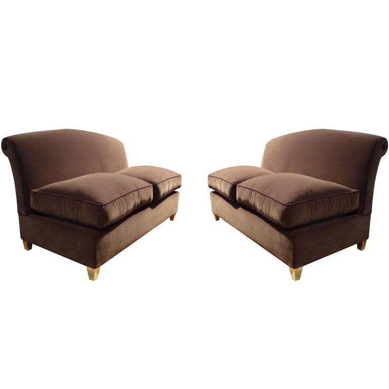 Maison Jansen Exceptional Pair Of Settees With Gold Leaf