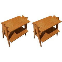 "Style of Jean Prouve Pair of Two-Tier ""Compas"" Side Tables in Cerused Oak"