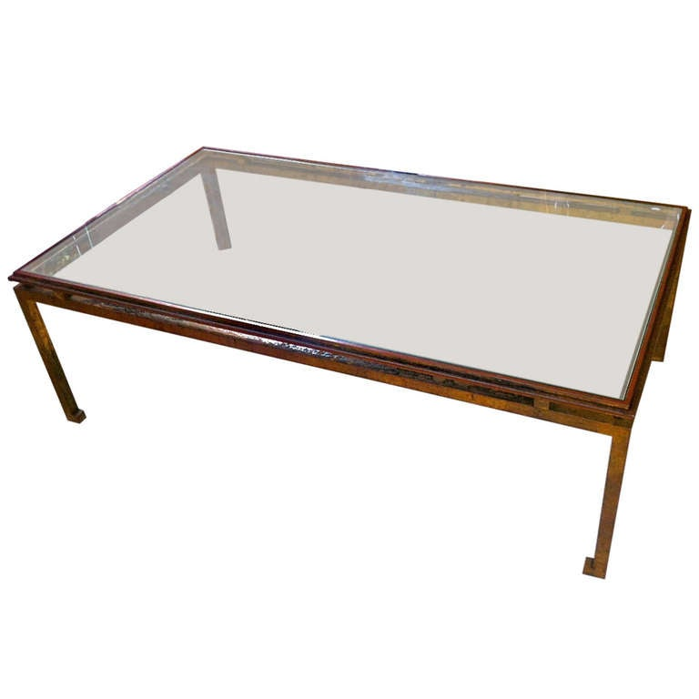 Maison Ramsay Patina Gold Leaf Wrought Iron Rectangular Coffee Table at 1stdibs -> Gold Rectangle Table