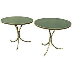 Maison Jansen 1940s Pair of Gold Bamboo Gilded and Leather-Top Tables