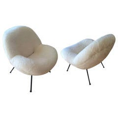 "Fritz Neth Spectacular Pair of ""Egg"" Chairs Reupholstered in Ecru Faux Fur"