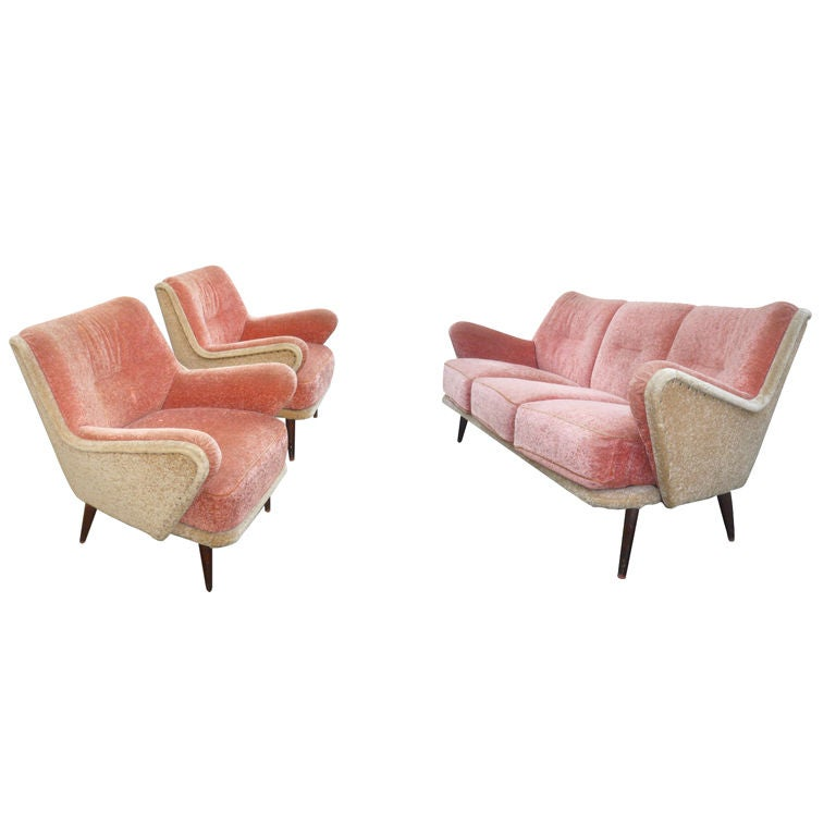 Vintage Pale Pink And Beige Set Of One Couch And 2 Arm