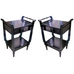 Maison Jansen Pair of Black Lacquered Neoclassic 1940s Bedsides