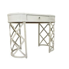 French Riviera Lady Desk in White Painted Wrought Iron