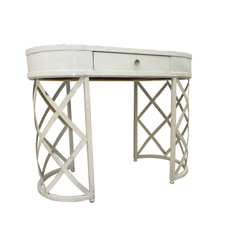 French Riviera Coffee Table Book: French Riviera Lady Desk In White Painted Wrought Iron At
