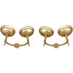 Charming Pair of Gold Leaf 1940s French Sconces