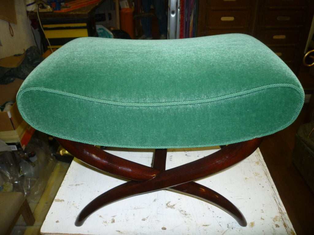 Jean RoyèreX-shaped bench newly reupholstered in green mohair velvet and rosewood legs.  The real color of the velvetisin the side photos.