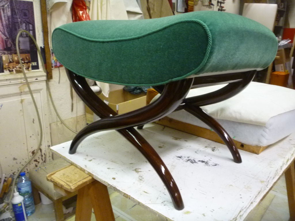 French Jean Royère X-Shaped Bench Newly Upholstered in Mohair Velvet For Sale