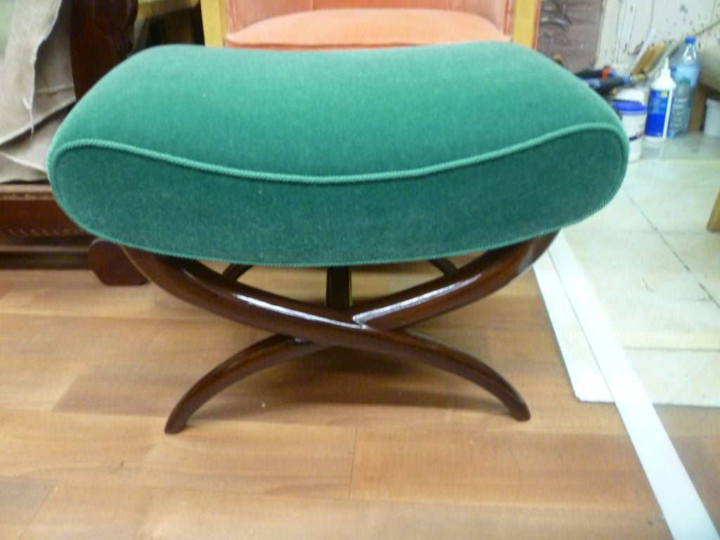 Jean Royère X-Shaped Bench Newly Upholstered in Mohair Velvet In Excellent Condition For Sale In Paris, ile de france
