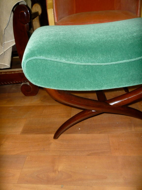 Mid-20th Century Jean Royère X-Shaped Bench Newly Upholstered in Mohair Velvet For Sale