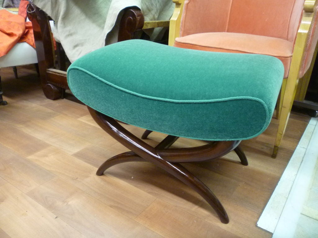Jean Royère X-Shaped Bench Newly Upholstered in Mohair Velvet For Sale 1