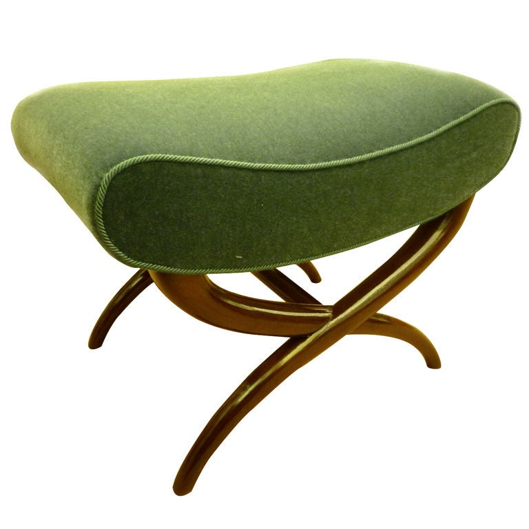 Jean Royere X Shaped Bench Newly Upholstered In Mohair Velvet At 1stdibs