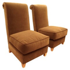 Maison Jansen Pair of Slipper Chairs with Gold-Leaf Legs