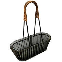 "Mathieu Mategot Genuine Fruit Basket in Rattan and ""Rigitule"" Perforated Iron"