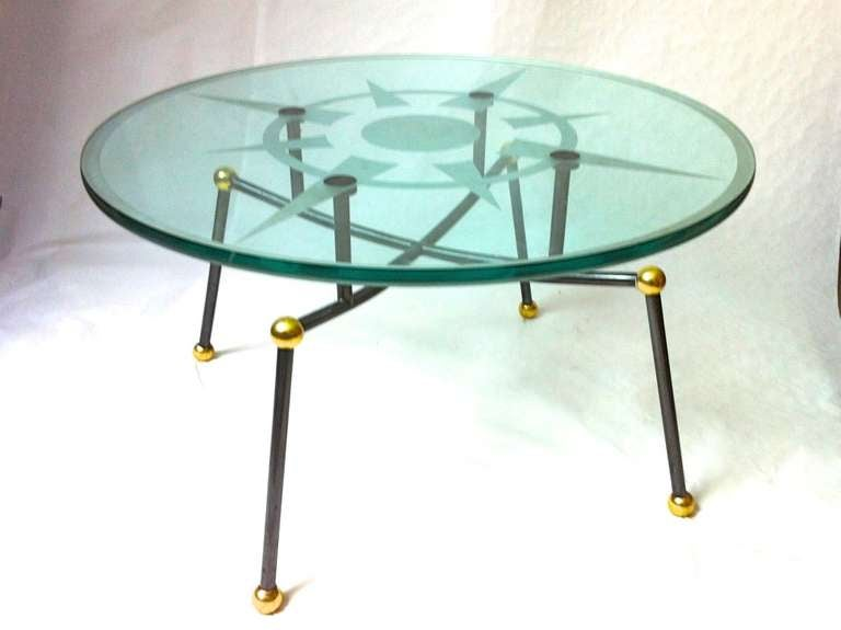 Extreme quality french pair of solid metal and heavy glass for Heavy glass coffee tables