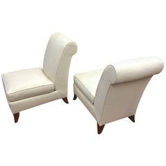 Maison Dominique Pair of Slipper Chairs with Elegant Design and Newly Restored