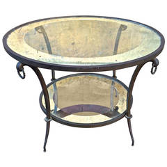 Andre Arbus Refined Two Tiers Solid Oxidized Bronze Coffee Table