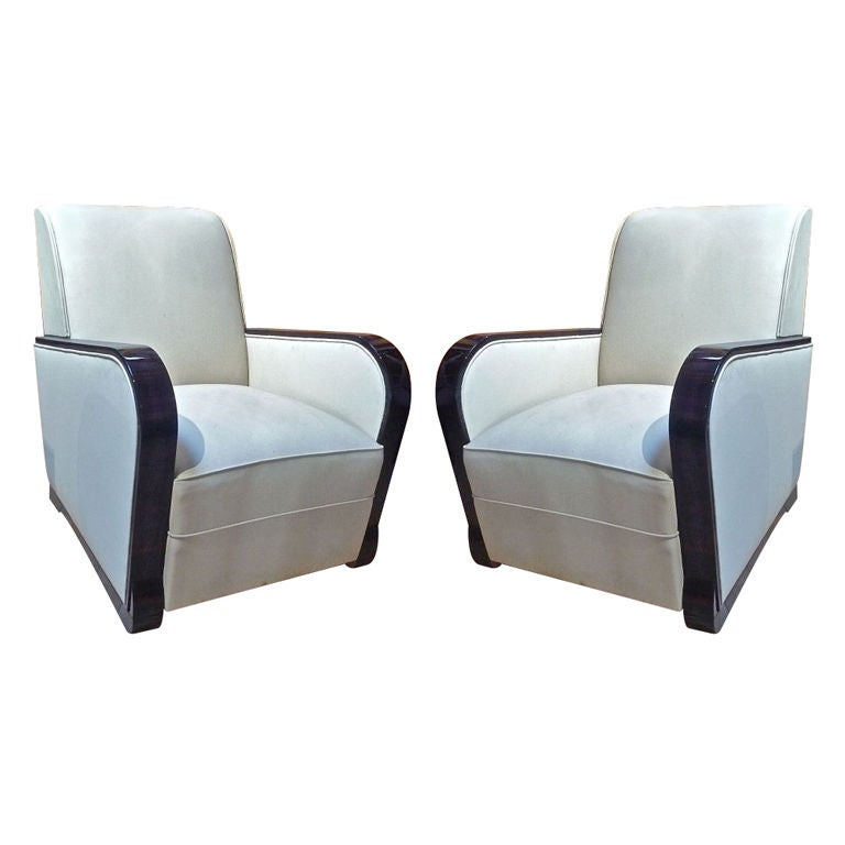 Art Deco Pair Of Very Comfortable Armchairs In Macassar At