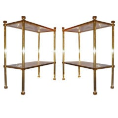 Pair of Two-Tier Side Tables Attributed to Marc du Plantier