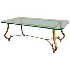 Maison Ramsay Gold Leaf Wrought Iron Rope and Knots Coffee Table