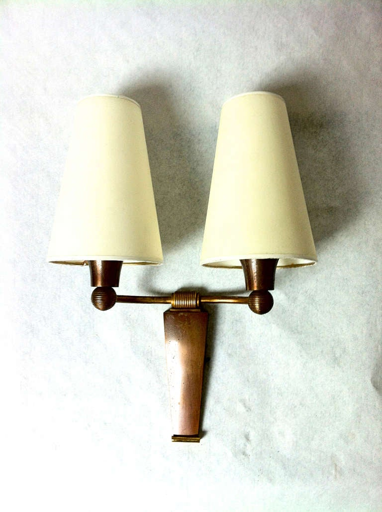 Small Gold Wall Sconces : Jean Pascaud Small Pair of Sconces in Gold Oxidized Bronze at 1stdibs