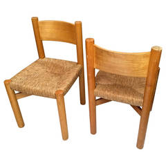 Charlotte Perriand Pair of Ash Tree and Rush Chairs in Good Vintage Condition