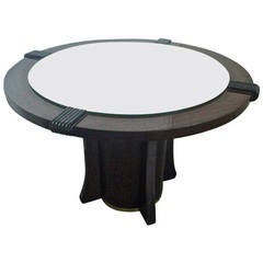 Maurice Jallot Coffee Table with Mirror Top and Brass Circled Base, 1940