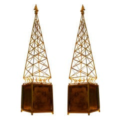 Spectacular Obelisk Gold Leaf Wrought Iron Pair of Lamps
