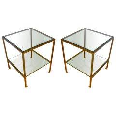 Maison Ramsay Pair of Two-Tier Tables in Gold Leaf Wrought Iron