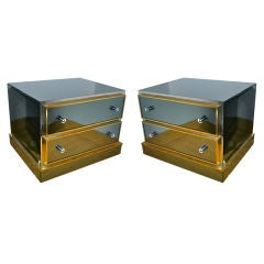 Maison Jansen Pair of Mirrored Bedside Tables with Gold Frames