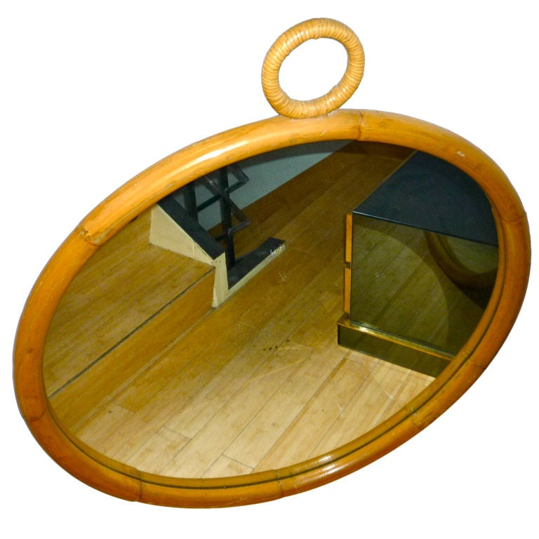 Spectacular large round bamboo mirror with hanging ring at for Hanging a large mirror